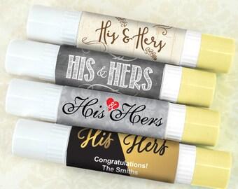 Wedding Favor Lip Balm Double Sided, His & Hers Wedding Lip Balm - Set of 12