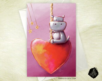 Hippo carousel heart greeting card mother's love-Valentine's day