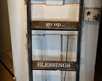 Decorative Wooden Ladder, Blanket Ladder, Ladder with Inspirational Quote