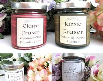 Outlander 100% Soy Wax Candle Set | Jaime Fraser | Claire Beauchamp-Fraser | La Dame Blanche | Lord John Grey| 4oz