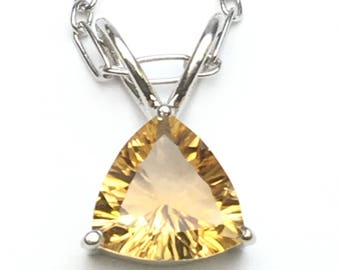 Citrine sterling silver pendant , FREE SHIPPING