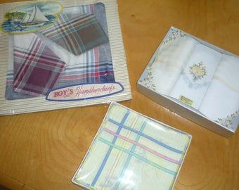 3 Vintage original boxes Men's Handkerchiefs ( 12 )