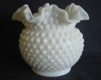 Fenton Hobnail Milk Glass Vase, Ruffled Hobnail Milk Glass, Fenton Ruffled Hobnail Milk Glass, 6 x 5 in.