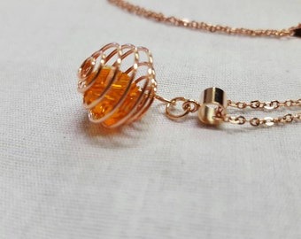 Crystal Rose gold pendant - orange
