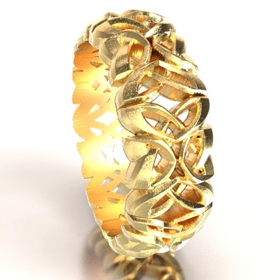 Gold Celtic Cut-Through Dara Knot Design in 10K 14K 18K Gold, Palladium or Platinum, Made in Your Size CR-1079