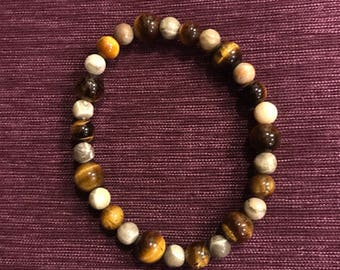 Tiger's Eye and Fossilized Coral Bracelet
