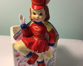 Vintage Inarco Majorette girl planter - kitschy girl planter - marching band - baton twirler - vintage baby planter - little girl planter