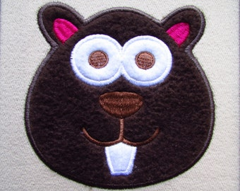 Beaver Applique Embroidery Design Instant Download