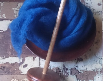 Blue roving, pure Merino wool for felting, spinning, weaving art, DIY crafts. Hand-dyed blue wool top, 50 grams, by Soft Senses Yarn