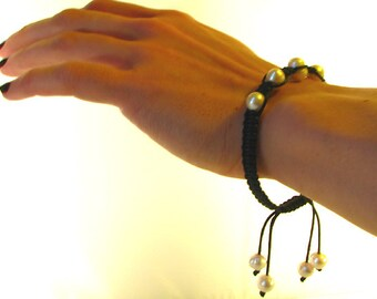 Black Macrame Freshwater Pearl Bracelet Adjustable length with pearl drops
