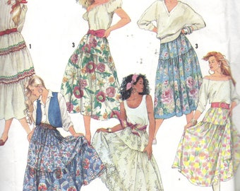 9737 Simplicity Sewing Pattern Gathered Tiered Skirt Size 6 8 10 12 14 Vintage 1990