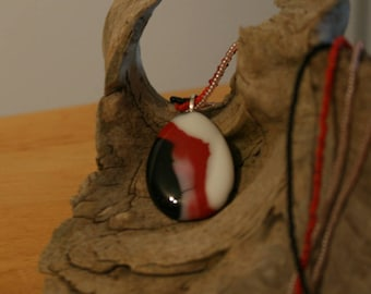 Stunning, Brilliant Fused Glass Pendant with Beaded Necklace - Fused Glass Jewelry - Art Glass