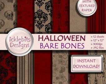 """Halloween TEXTURED Digital Paper Pack for Scrapbooking, """"BARE BONES"""" red and brown backgroud, damask pattern, skeletons, skulls, Design #67"""