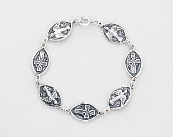 Dove/Cross Bracelet - A Sterling Silver Bracelet by Aosdana, Isle of Iona.
