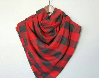 Plaid flannel blanket scarf, large plaid flannel blanket scarf, red buffalo plaid scarf, Christmas gift, cozy flannel scarf, blanket scarf