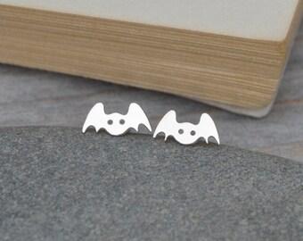 Bat Earring Studs In Sterling Silver, Animal Earring Studs, Handmade In The UK