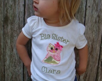 Big Sister Shirt - Big Sister Owl Shirt - Big Sis Shirt - Big Brother Shirt - Little Sister or Brother Bodysuit