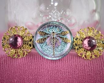 Dragonfly button barrette