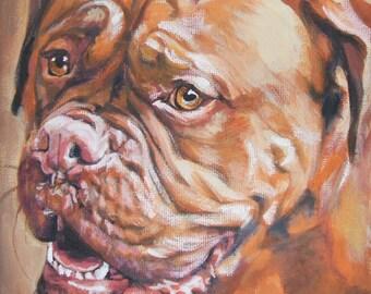 """Dogue de Bordeaux DOG art PORTRAIT canvas PRINT of LAShepard painting 8x8"""""""