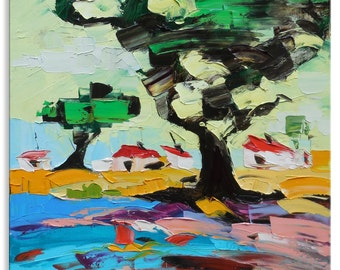 The Old Oak - art street painting wall decor home hanging small canvas original impasto oil town cityscape sunny 16x16 road tree summer day