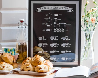 Kitchen Conversions / Equivalents Print - foodie gift, kitchen chart black 8x10 12x16 16x20 A4 A3