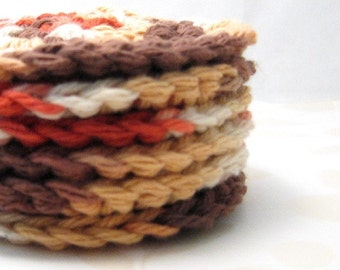 Cotton Facial Scrubbies, Eco Friendly  Makeup Removal Pads, Brown, Ivory, Russet, Caramel,  Crochet Facial Cleansing, Earth Tone Scrubbies