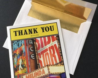 25 Custom PLAYBILL Thank You note cards with envelope Your name in lights on Broadway marquee