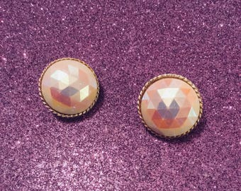 Round Pink Rainbow Ear Clips