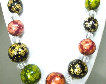 Big and Bold  Bead Necklace, Colorful Painted Resin Beads & Clear Glass Spacers, Looks Heavy, is Not, OOAK by Rachelle Starr