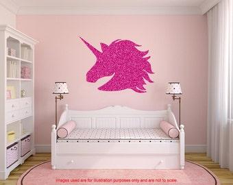 Glitter Unicorn Wall Decal, Large Unicorn Sticker, Unicorn Wall Sticker,  Glitter Decals,