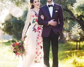 The Floral Fantasy Lace Wedding Dress/Gown Blush/Beige/Champagne/Tulle Bridal Separates