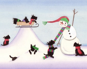 Scottish terriers (scotties) frolic with snowman / Lynch signed folk art print