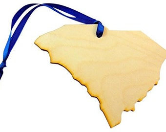 South Carolina Wooden Christmas Ornament Boxed State Gift Handmade in the U.S.A.