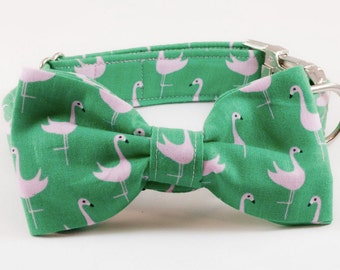 Preppy Green and Pink Flamingo Bow Tie Dog Collar