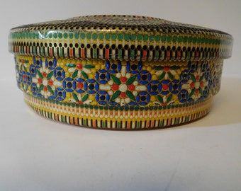 Vintage Floral Tin Canister Container