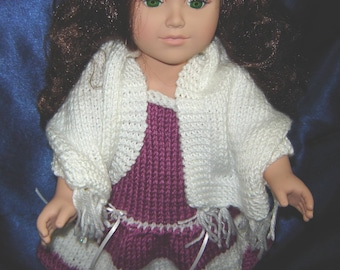 """18 Inch Doll Shawl - White Sparkly Shawl for an 18"""" Doll - American Made - Girl Doll Clothes - 18 Inch Doll Clothes"""
