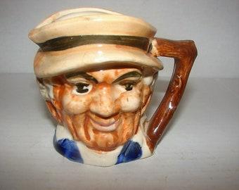 Vintage~Creamer Tiny Pitcher~Made in Japan~Old Man Toby~Porcelain Ceramic Glazed