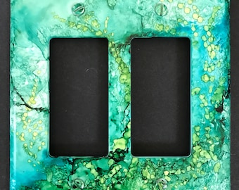 Switch Plate -Undersea Fantasy--Abstract Stone & Water Effect of Deep Greens -Handpainted Wall Decor--
