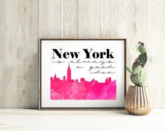 NEW YORK CITY art,new york wall art, nyc wall art, new york city print,city printable art,city skyline,new york cityscape,new york poster