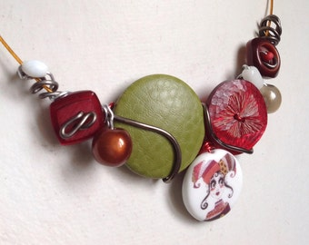 """Necklace """" Carnival"""" imitation leather covered button and porcelain bead"""