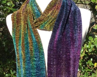 Handwoven Rayon Chenille Scarf Hand Woven Jewel tones Scarf-Rainbow shades with a touch of black  Handmade Scarf