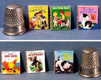 Classic Favorites - 6 Little Golden Books -  Dollhouse Miniature 1:12 scale - Dollhouse nursery books  Poky Puppy, Shy Kitten, Red Hen more