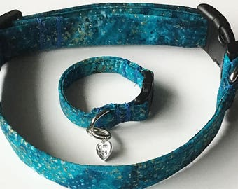 Teal Dog or Cat Collar with Matching Friendship Bracelet