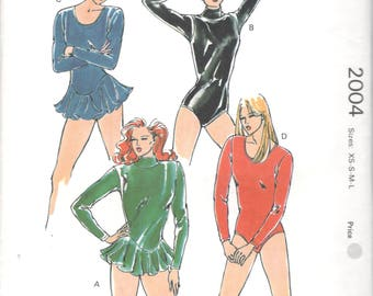 Kwik Sew 2004 1980s Misses LEOTARDS Attached Circular Skirt  Pattern Basque Waist Womens Sewing Pattern Size Xs  S M L  Bust 31 - 41 UNCUT