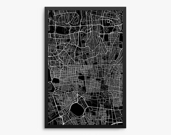 Tehran Street Map, Tehran Iran, Modern Art Print, Tehran Decor, Tehran Gift, Iran Gift, Persian Gift, Office Decor, Home Decor, Gift Idea
