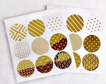 Gold Round Foil Seals {18} Gold Circle Seals | Gold Seals | Geometric Print Seals | Gold Envelope Seals | Gold Stickers | Events