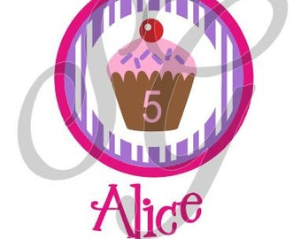 Personalized Birthday Cupcake iron on decal for shirt