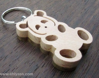 PANDA Keychain in two solid wood made fretwork