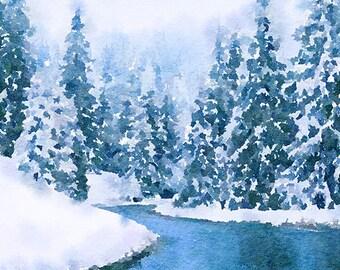 Winter Original Unique Brush Painting Mixed Media Painting 97