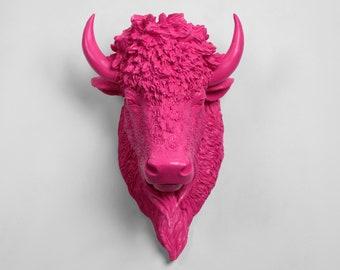 OVERSTOCK SALE - Large Pink Bison Head